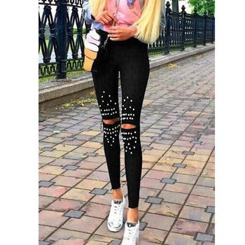 Women Elastic Leggings breaking hole Pearls Leggings tight feet pants Black Ripped Leggings with White Rhinestones