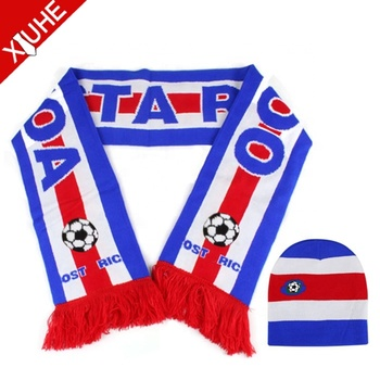 High Quality Double Side Custom Knitted Neck Fan Football Knitted Soccer Blue Scarves and Hat Custom Soccer Football Scarf