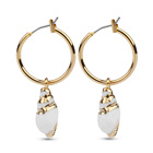F4U-E069 Trendy Woman 18K Gold Drop Hoop Cowrie Natural Seashell Earring