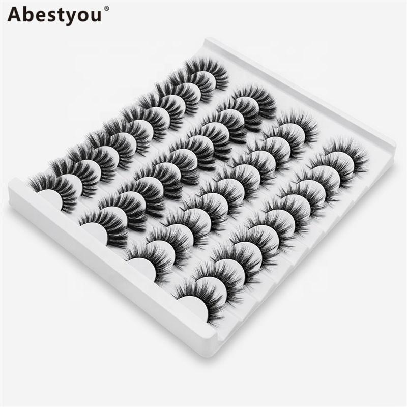 Abestyou 20Pairs eyelashes 25MM Faux Mink Eyelashes individual eyelashes
