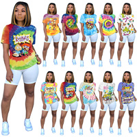 Hot selling 2020 new arrival Women's Casual fashion cartoon placement full body printed short sleeve t shirts