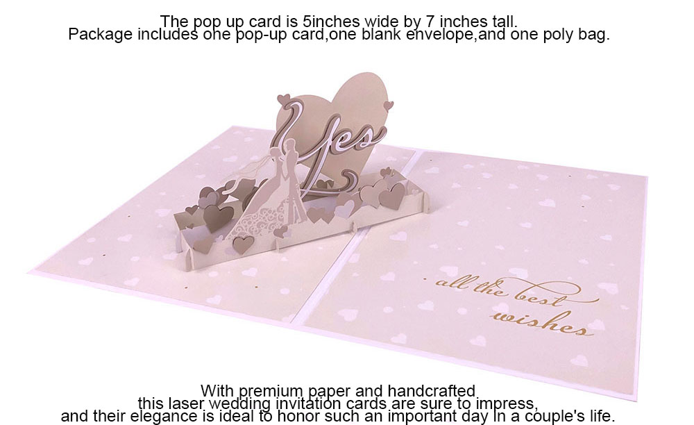 Laser Cut 3d Pop Up Luxury Wedding  Invitation Card For Love Design