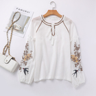 Best Sale Instock Cheap Summer Boho Beach Casual Wear Embroidery Long Sleeve White Women's Blouse Tops Ladies Blouse