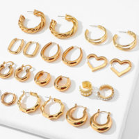 22mm 29mm 50mm Huggie earrings Thick Gold Plated Brass Hoop Earrings Big large metal smooth earring Ladies Minimalist Jewelry
