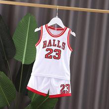 2020 летняя детская Баскетбольная одежда для мальчиков и девочек, футболка, майка + шорты брюки детские спортивные костюмы 1 2 3 4 5 6 лет(Китай)