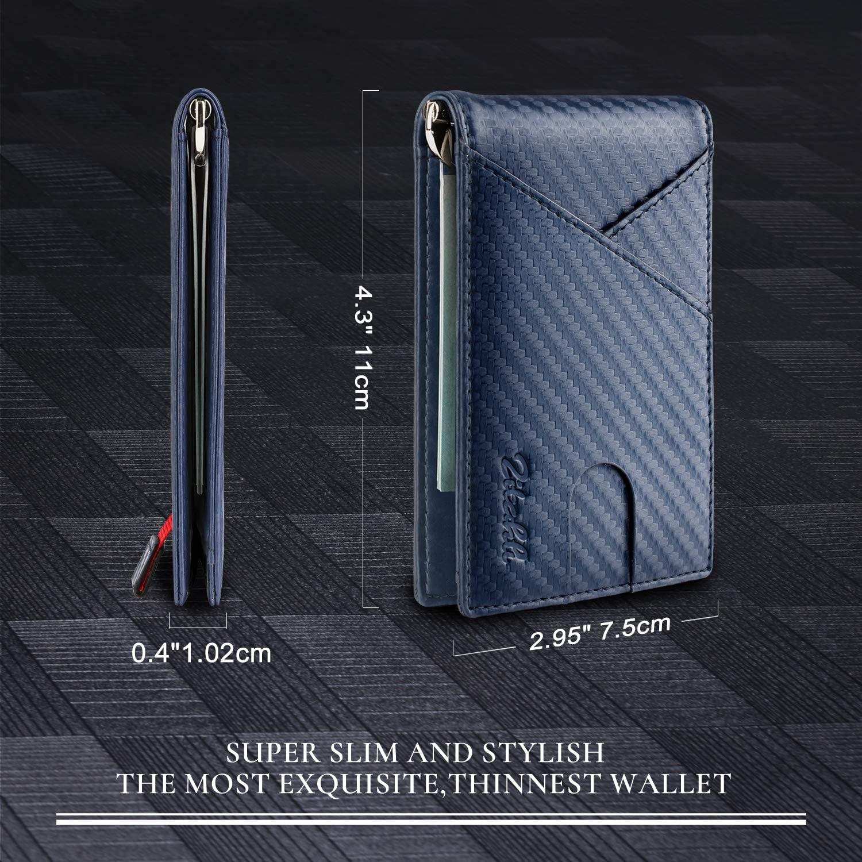 Amazon Amazon Hot Sales RFID Carbon Fiber Pattern Genuine Leather Wallet Slim Smart Money Clip with Card Holder