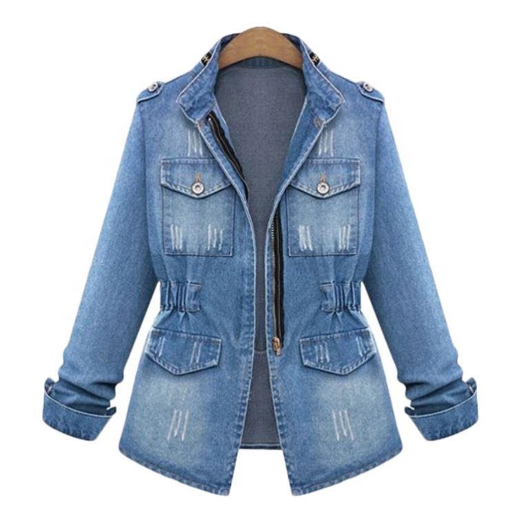Yeni sıkıntılı Zip Up Giubbino Donna avrupa Turnhout kadın uzun Jean ceket artı boyutu bayan sıkıntılı denim ceket