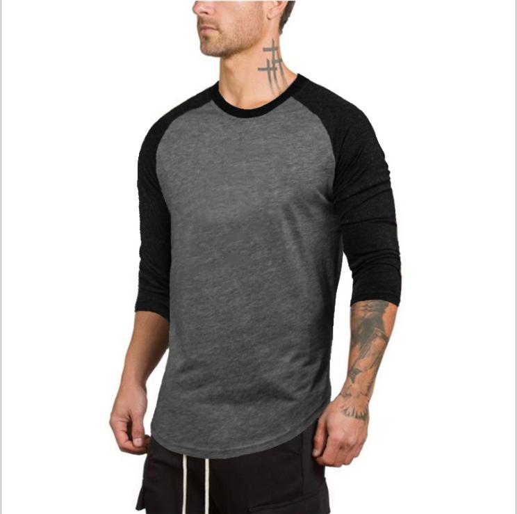 No brand Pure Color Cotton Men's Slim 7/10 Sleeve Round Neck Sports Fitness Hip Hop Fashion t-shirt 3