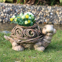 2019 new magnesia material MGO stone tortoise animal shape garden planter flower pot