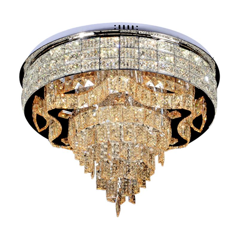 Modern kapalı ev fikstür asılı montaj lüks yuvarlak kristal Led tavan ışık oturma odası için