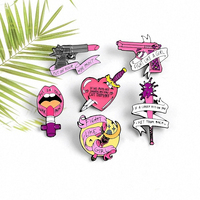 Fight Like A Girl Feminist Enamel Pins Feminism Jewelry Self-defence Magic Wand Female Girl Power Brooches lapel Pin For Women