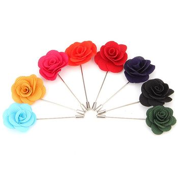 Wholesale bulk cheap wedding silk satin fabric suit lapel pin men flower brooch