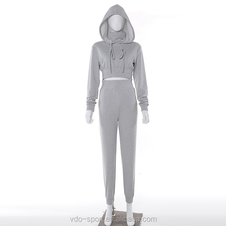 Gray Fitness Wear Hooded Long Sleeve Womens Custom Two Piece Jogger Set Sports Tracksuit Hoodie