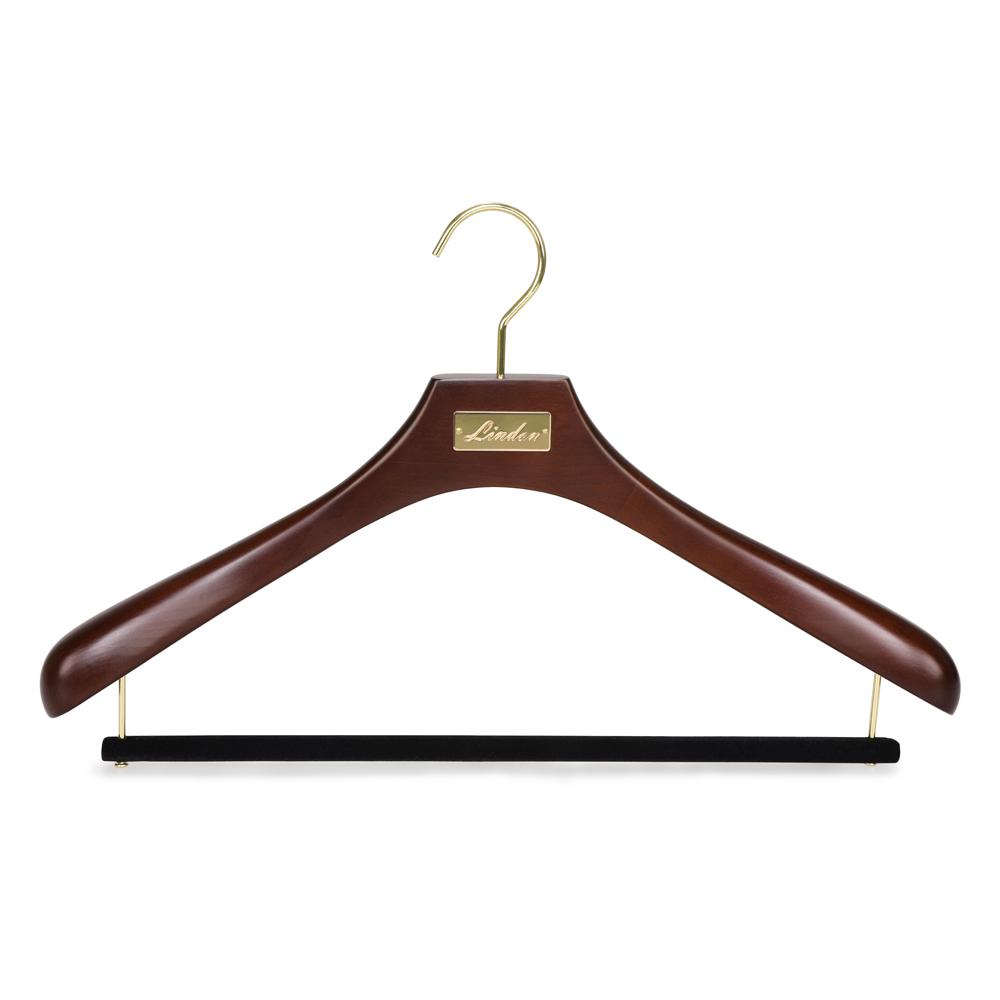 פרימיום לוגו מותאם אישית כהה אגוז יוקרה עץ מעיל חליפת קולב עם קטיפה צפצף בר