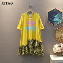 Платье с рисунком XITAO, с оборками, пуловер с веером, повседневное, свободное, маленькое, элегантное, элегантное платье, ZP1033, лето 2020(Китай)