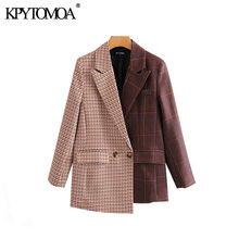 Винтажный стильный лоскутный клетчатый Блейзер, нестандартный пиджак для женщин 2020, модная женская верхняя одежда с длинным рукавом и отло...(Китай)