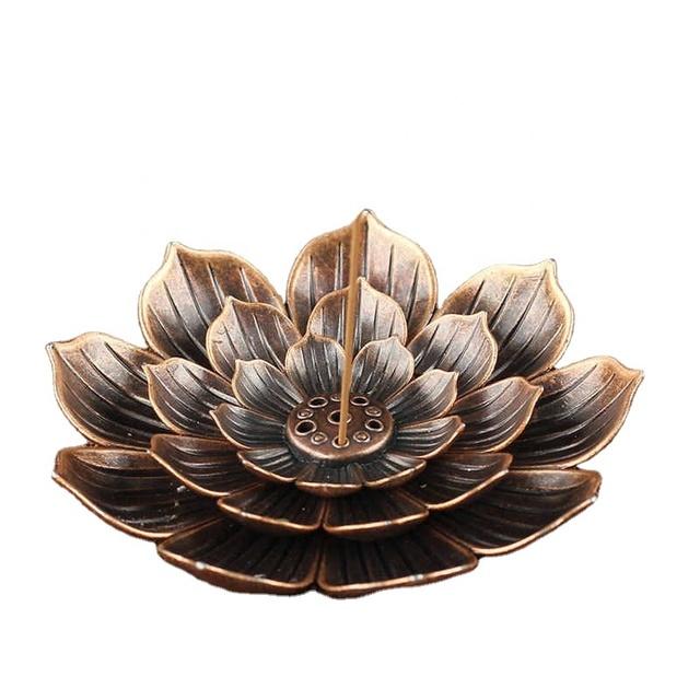 Alloy Incense Burner Holder Plate Plate Buddhism Lotus Temples Yoga Incense Burn