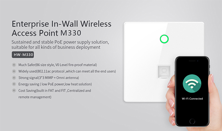 In Wall Wireless AP 300Mbps 24V PoE WiFi Access Point
