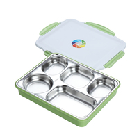 1.6L large capacity portable insulated bento box ,5 compartment sus 304 stainless steel lunch box with plastic case