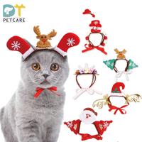 Funny Pet Cat Santa Headwear Hat Christmas Halloween Dog Accessories