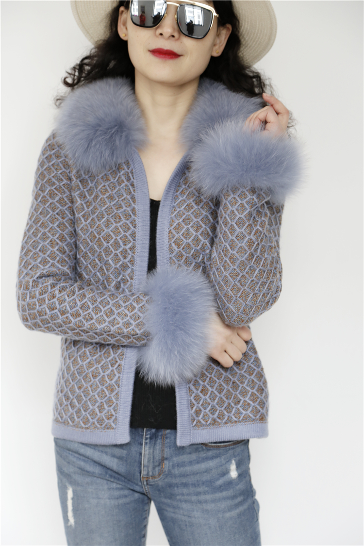 Fashion warm women knit sweater with fox fur collar elegant ladies winter cardigan sweater