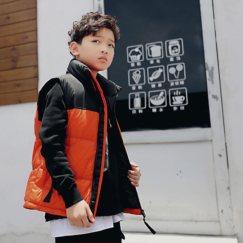 Children Stand Collar Front Fly Lower Hem Adjustable Plain Color Boys Sleeveless Down Vest