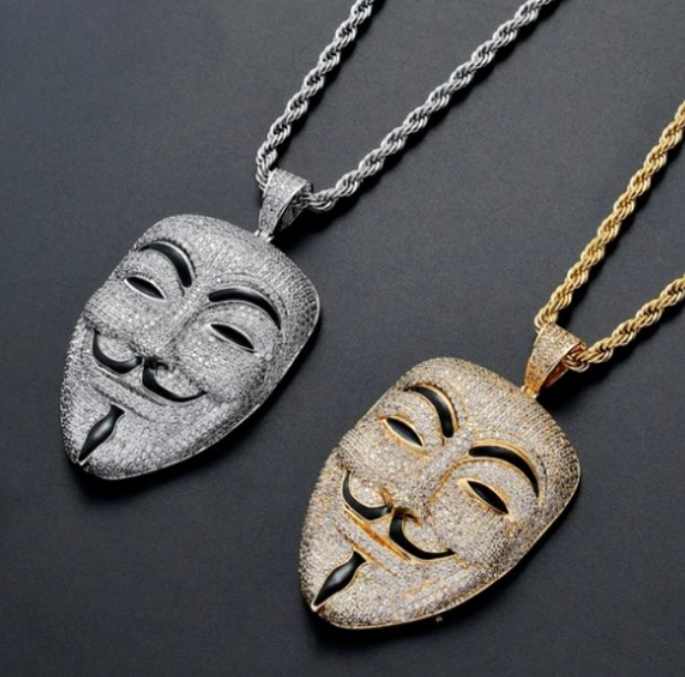 pop jewelry ins hiphop iced out full diamond shine large silver v for vendetta mask male lead cz avatar pendant necklace