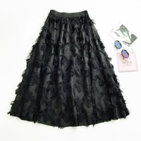 wholesale chiffon skirt tassel feather chic high waist skirt female Korean version of the long Joker swing A- line dress