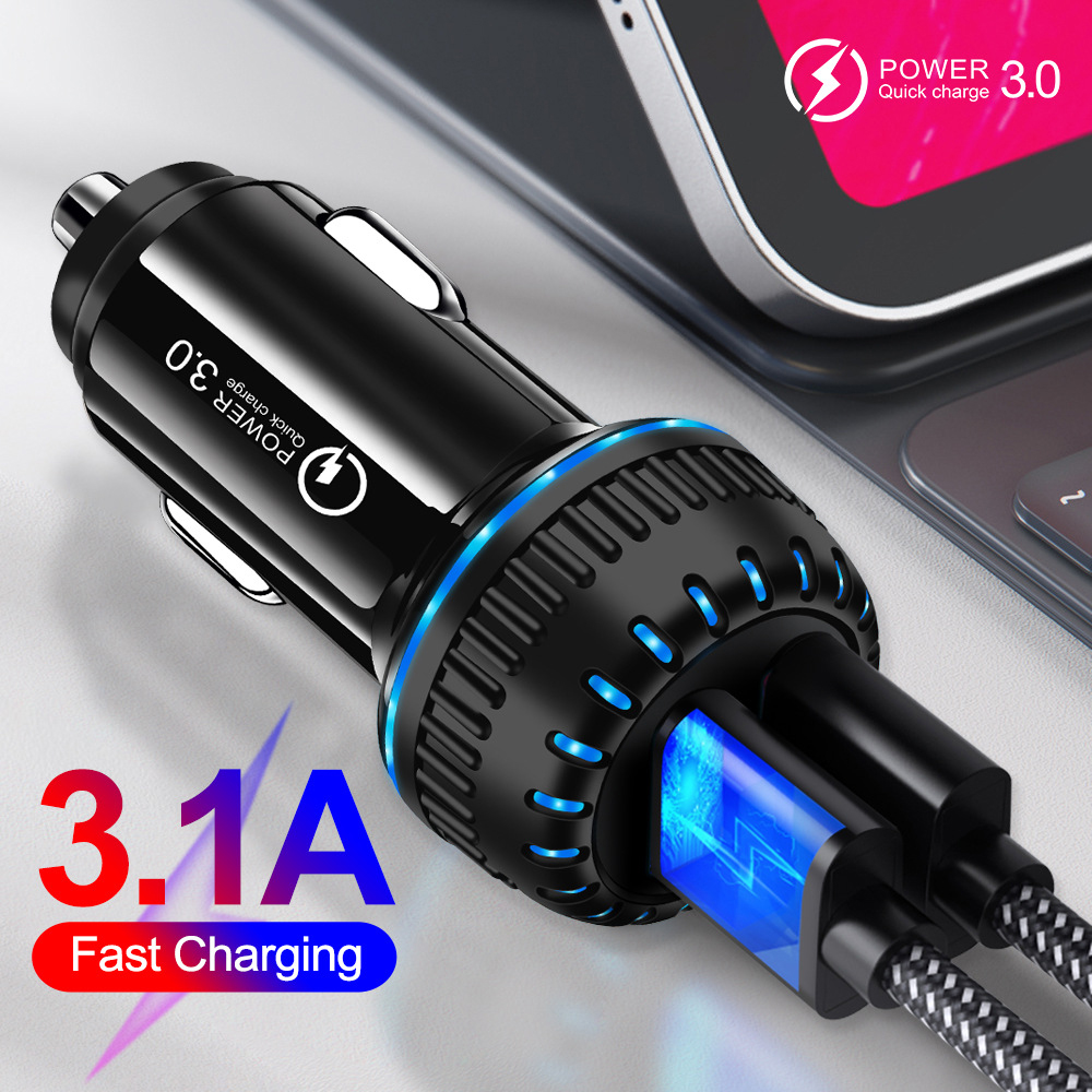 Eonline 3.1 A Dual USB Car Charger For iPhone X 11 Samsung Huawei Xiaomi Car Charger Fast LED QC 3.0 Mobile Phone Charger