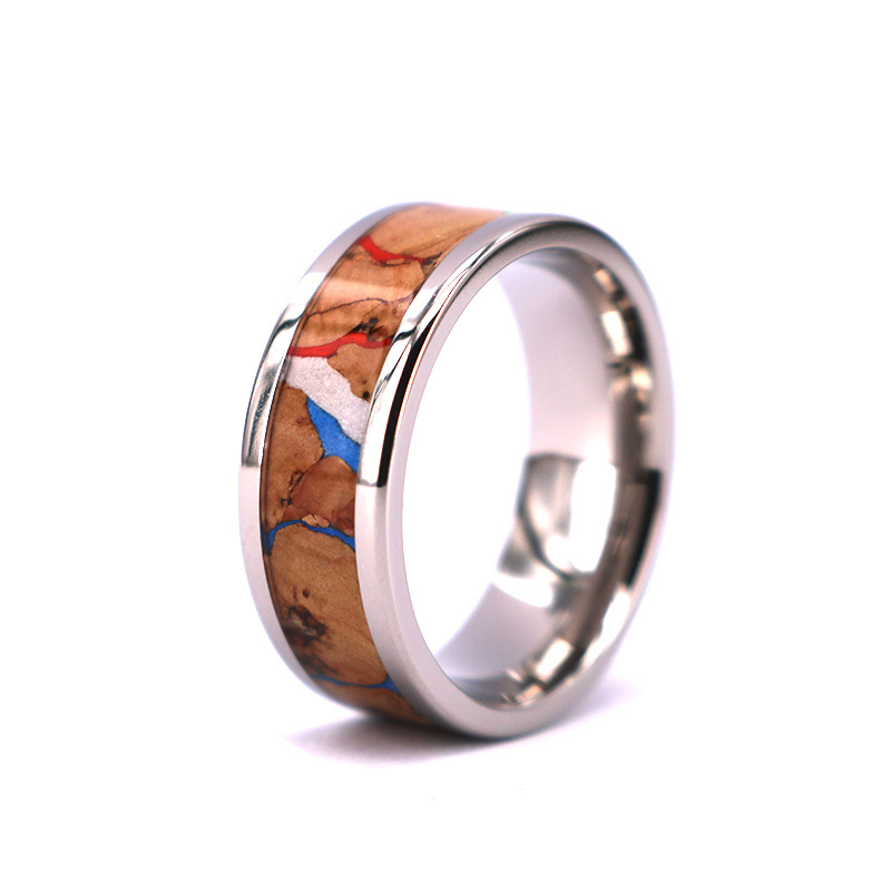 New Style Fashion Colorful Wine Cork Wood inlay Tungsten Rings,Cork Rings Mens Wedding Band