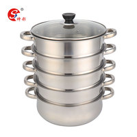 Large Capacity 5 Tier Stainless Steel Multi-Layer Steamer Boiler Pot With Glass Lid