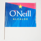 Custom logo printed PE hand flags with wooden pole for Puerto Rico