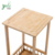 2 Tiers Bamboo Wooden Side Table with Storage