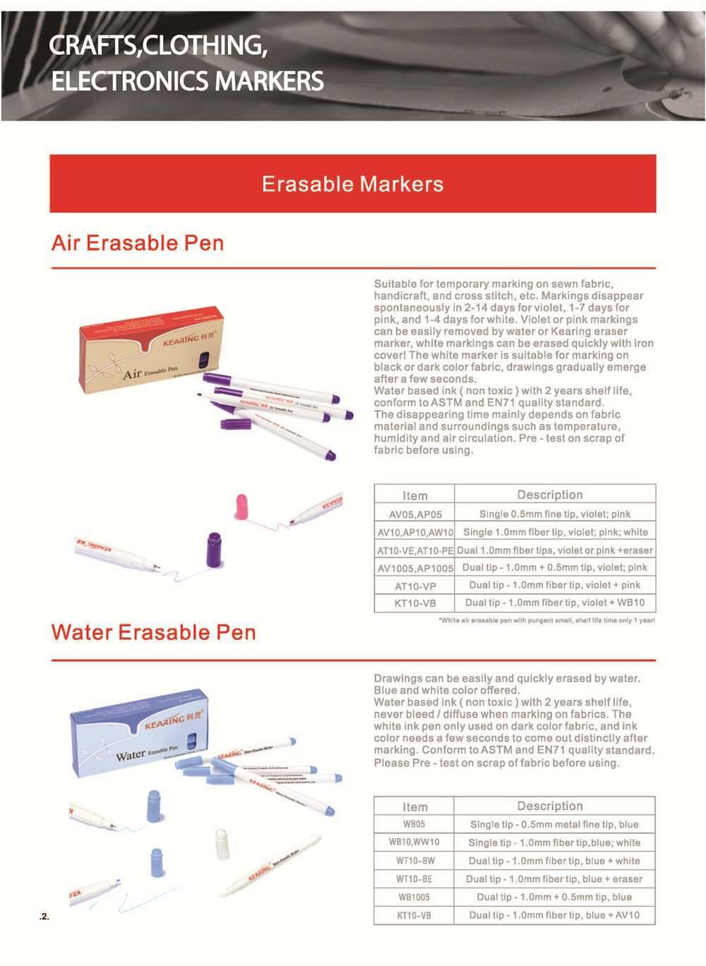 Kearing नई अद्यतन जल Erasable पेंसिल कपड़े अंकन के लिए नीले और सफेद रंग के साथ # WP10