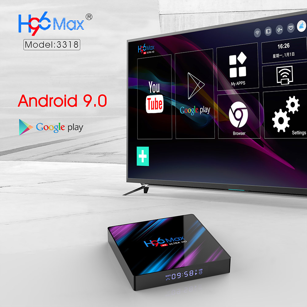 H96 MAX RK3318 Smart TV Box Android 9.0 4GB 32GB 64GB Media player 4K Google Stimme Assistent netflix Youtube H96MAX 2GB16GB