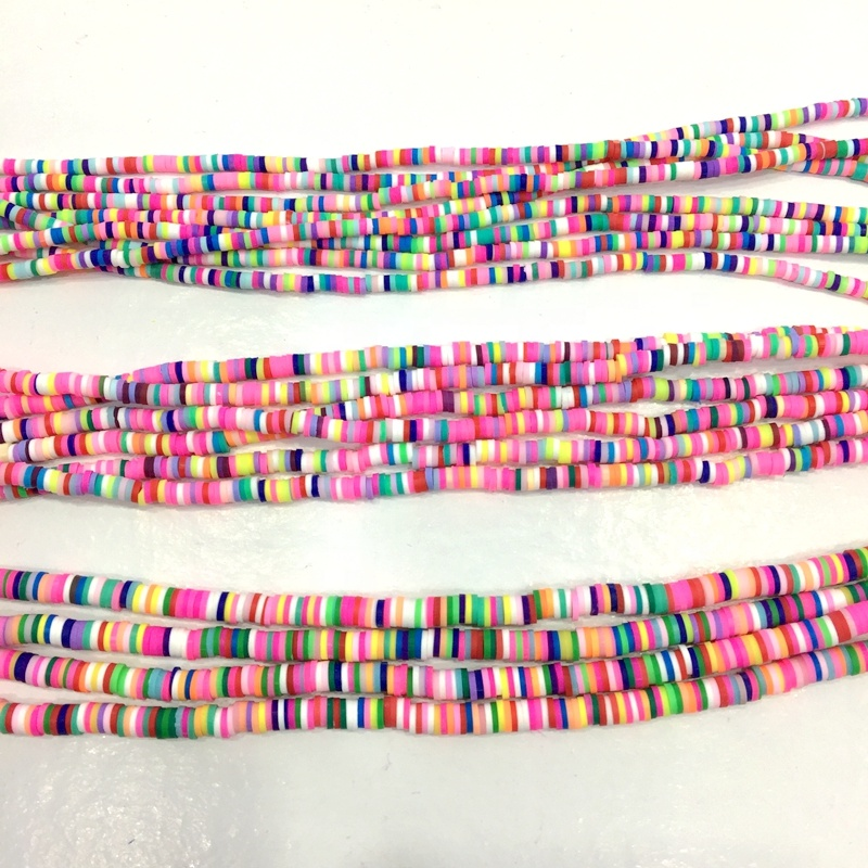 Rainbow Polymer Clay Heishi Beads 6 mm Colorful Flat Disc Slice Spacer Smooth Beads vinyl disk bead for DIY Craft Jewelry