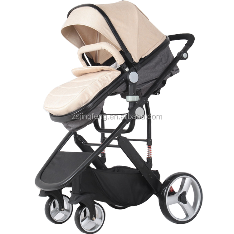 Competitive Price High Landscape Fashion PU Leather Baby Stroller Pram 3 in1