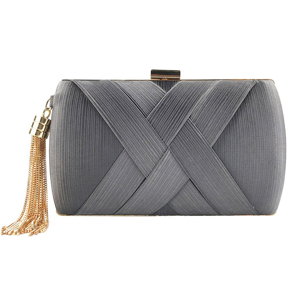 product-New Arrival Silk Satin Metal Tassel Lady luxury evening clutch bags chain wedding party mone-1