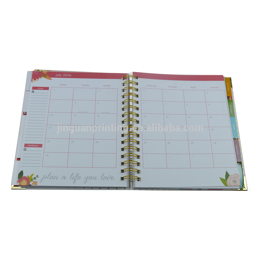 Low Moq Custom Gold Spiral 2020-2021 A5 Weekly Daily Planner Notebook