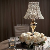 Golden color wrought iron wedding stage decoration crystal votive candlestick ,gold candle holder stand