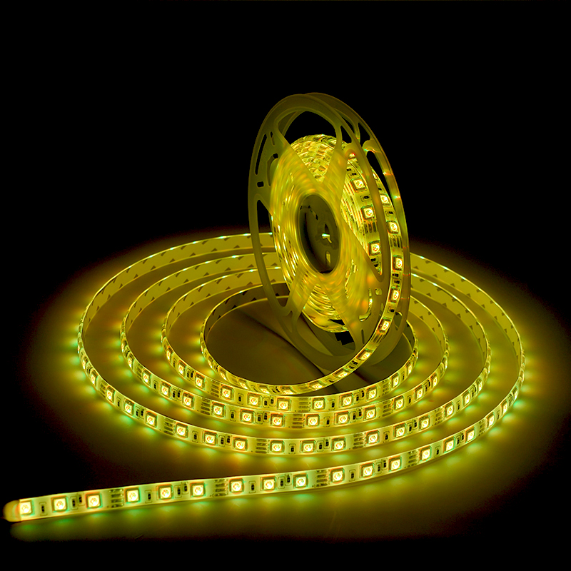5050 smd 16.4ft/5m 60LEDs/m 300LEDs DC12V Yellow single color waterproof IP65 white PCB board Dimmable Flexible LED strip light