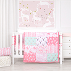 Elk splicing theme crib baby bedding set pink cot new born baby bedding set