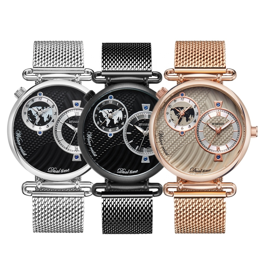 BESSERON High Quality 39MM Alloy Case Stainless Steel Back japan movt quartz two dials custom logo wholesale retail watch