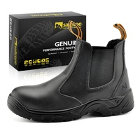 Steel toe no lace genuine cow leather safety shoes
