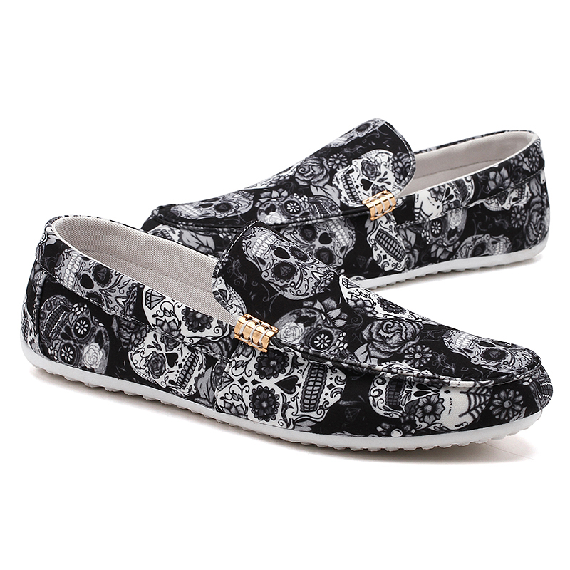 Lightweight Boat Barefoot Moccasins Slip On Skull Printing Canvas Men Casual Shoes Loafer