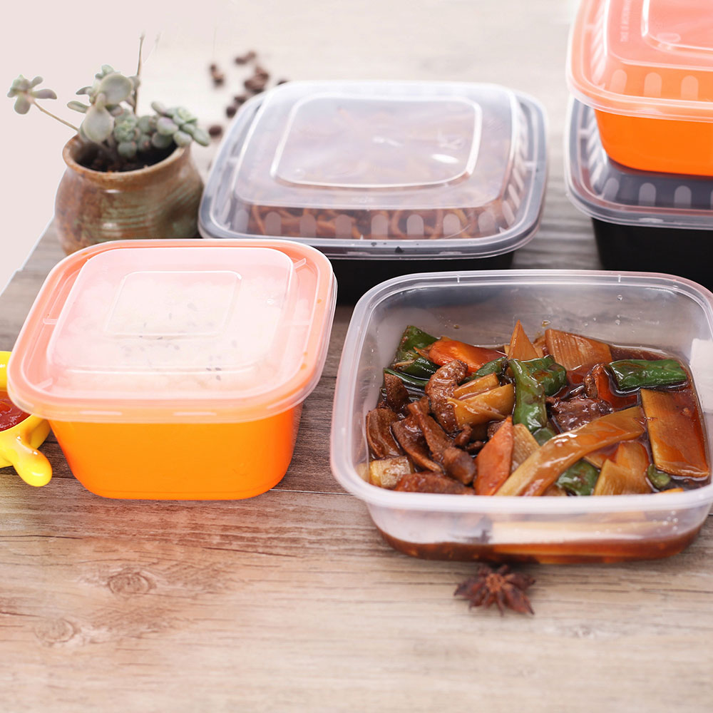hote sale microwavable transparent take away pla plastic lunch box with lid for food