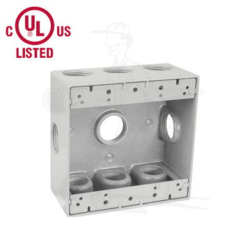 Electric 2 Gang Gray Metal Weatherproof Junction Box