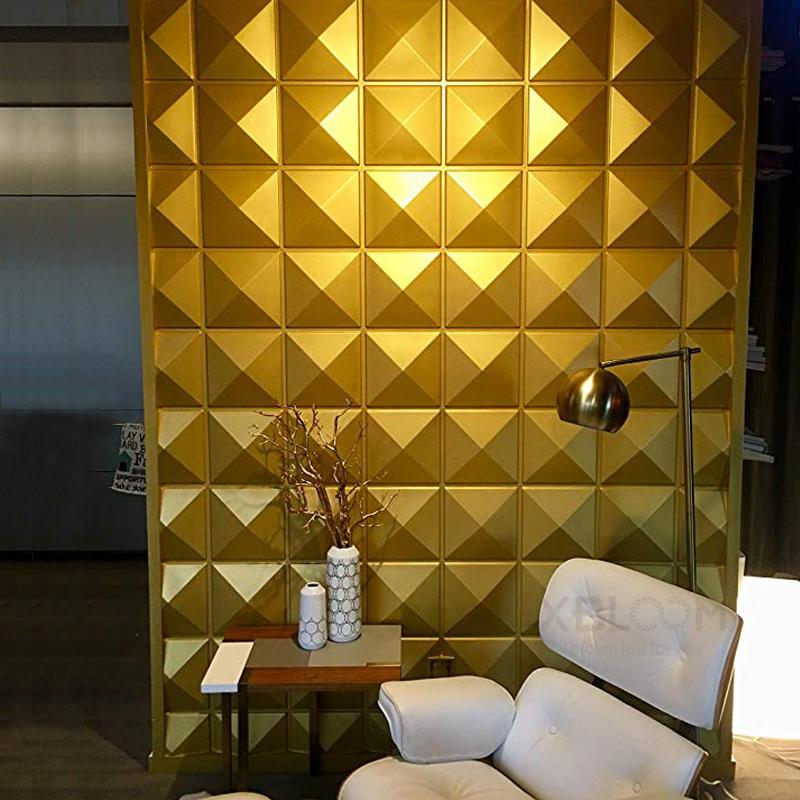 Parlak sarı pvc çin dekoratif 3d duvar paneli pu kaplama