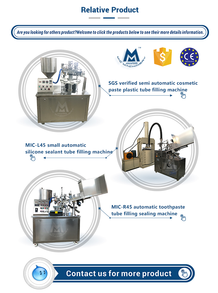Micmachinery small and neat MIC-L30 metal tube filling machine for cream speed at 30 tpm