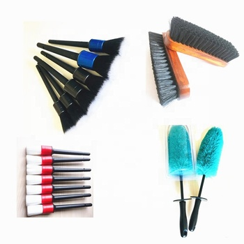 custom different size boar bristles detailing car brush set for cleaning emblem tyre rim wheel washing brushes